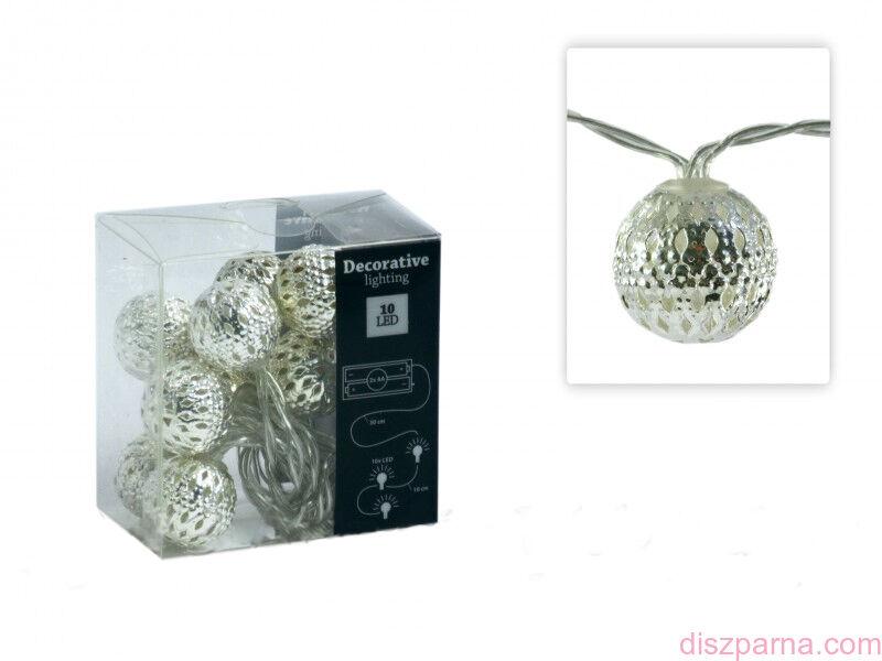Image of 10 LEDes ezüst gömb fényfüzér