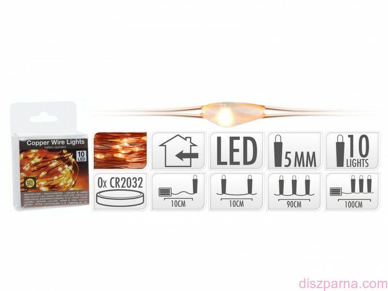 Image of 10 LEDes elemes rosédrót extra melegfehér fényfüzér 90+10 cm