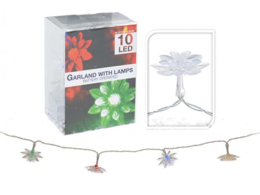 Image of 10 LEDes elemes színváltós virágos fényfüzér 120 cm