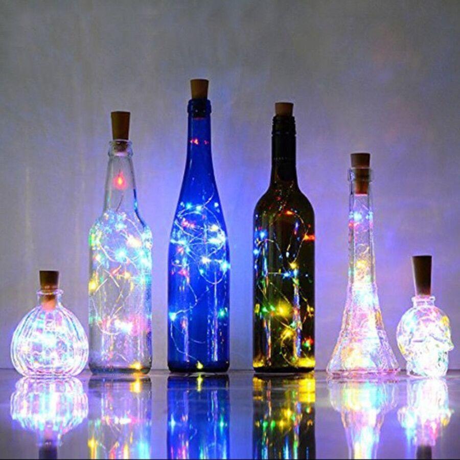 Image of 20 LEDes borosüveg rézdrót fehér fényfüzér 200 cm