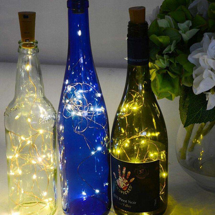 Image of 20 LEDes borosüveg rézdrót sárga fényfüzér 200 cm
