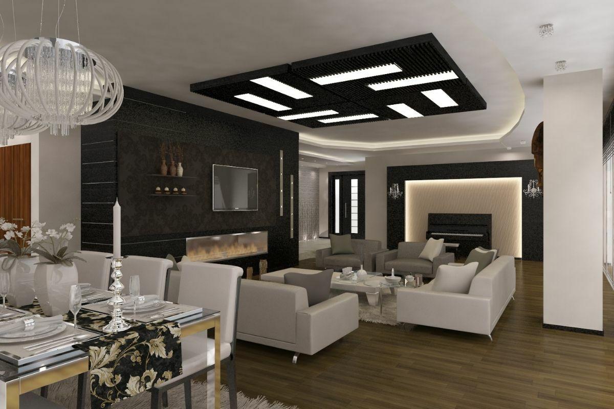 Fekete szín a nappaliban