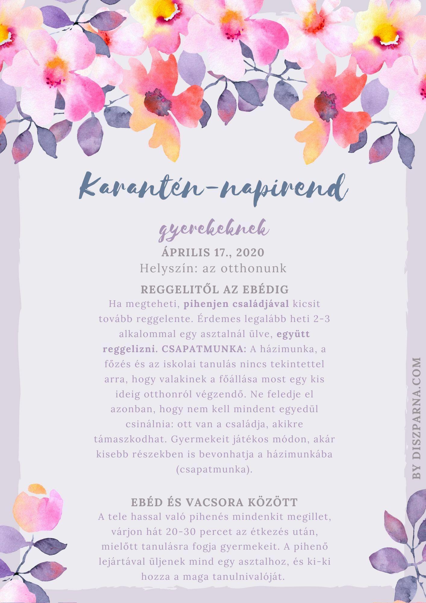 Karantén-napirend első oldal