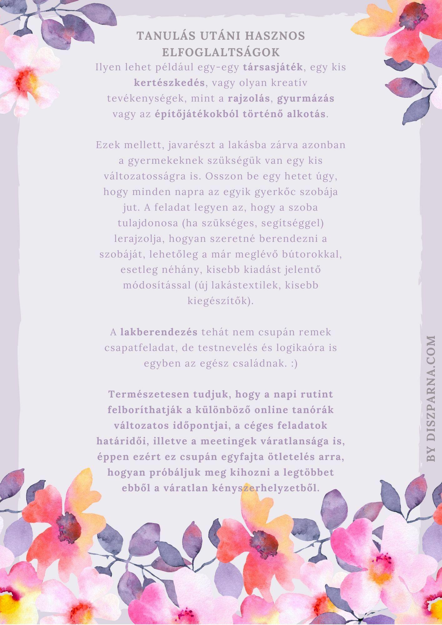 Karantén-napirend második oldal