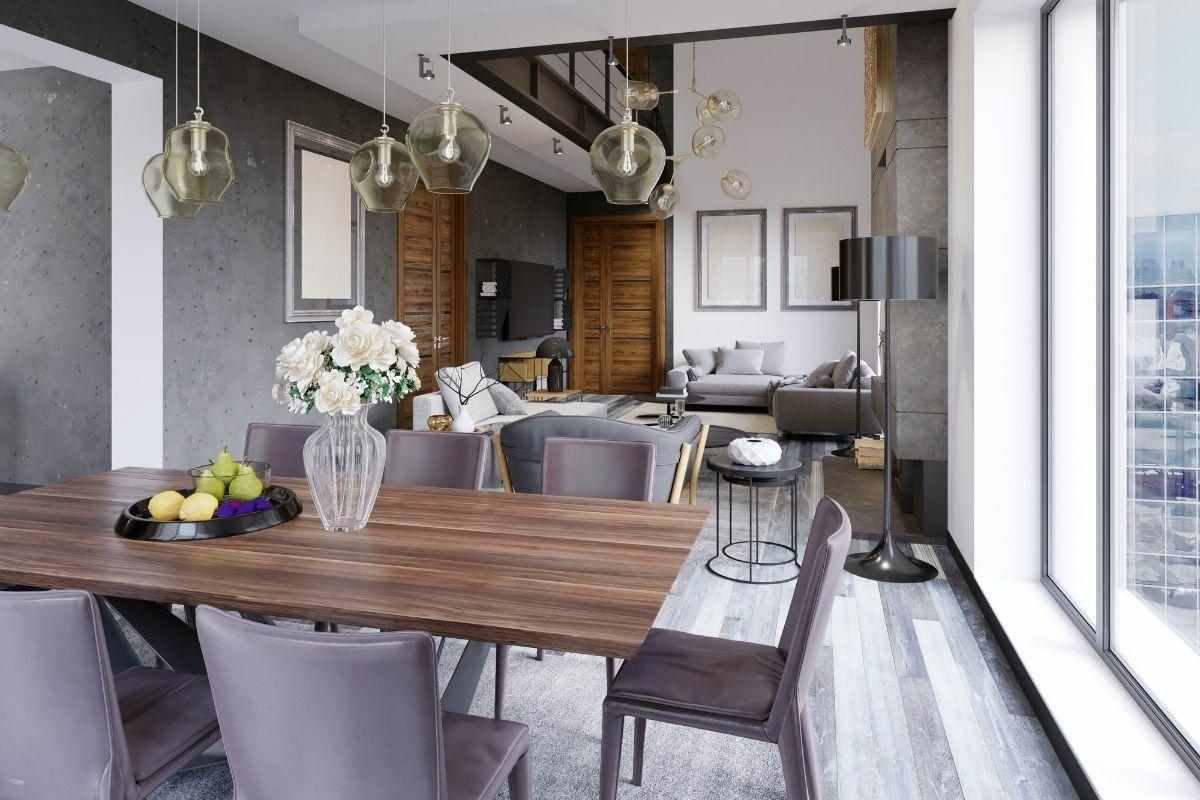 Taupe színvilágú, gyönyörű nappali és étkező