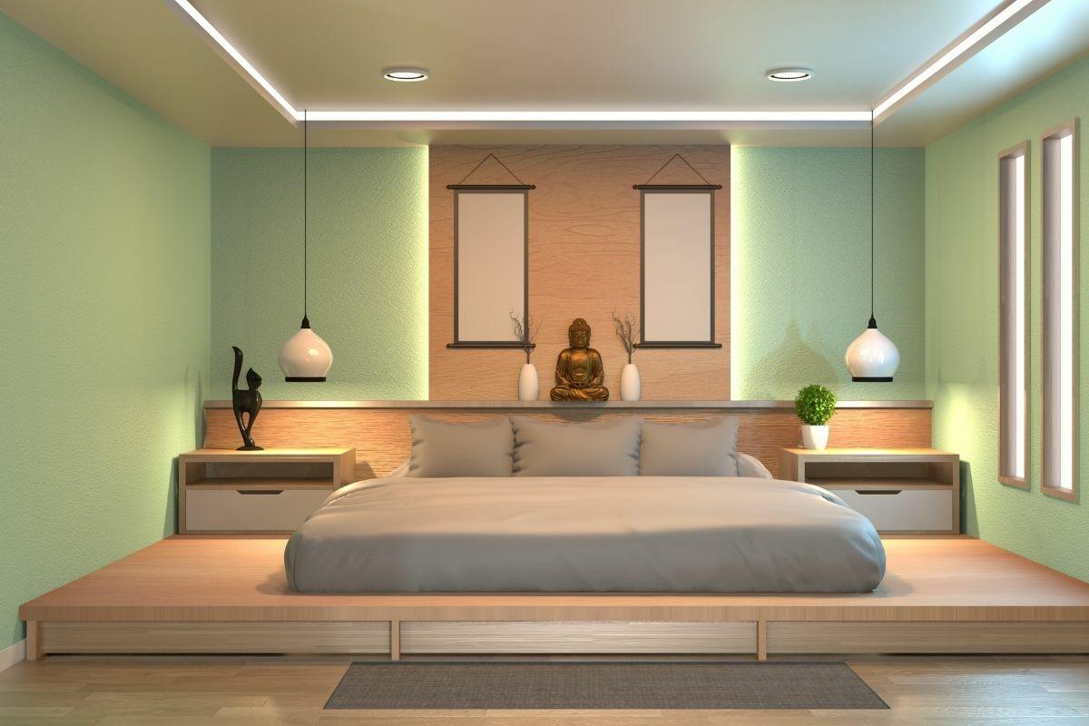 Zen lakberendezésű hálószoba