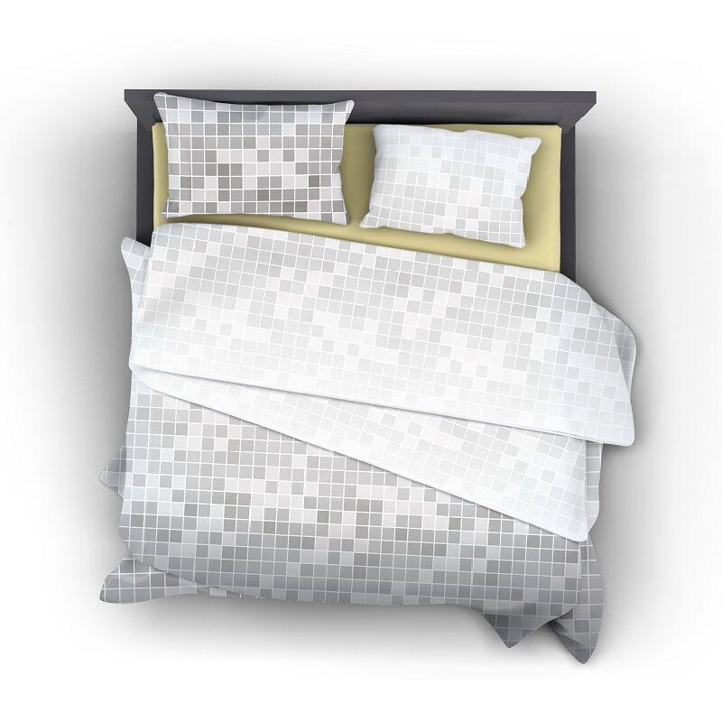 Ombre 3 részes, ezüst kockás, pamut-szatén ágynemű