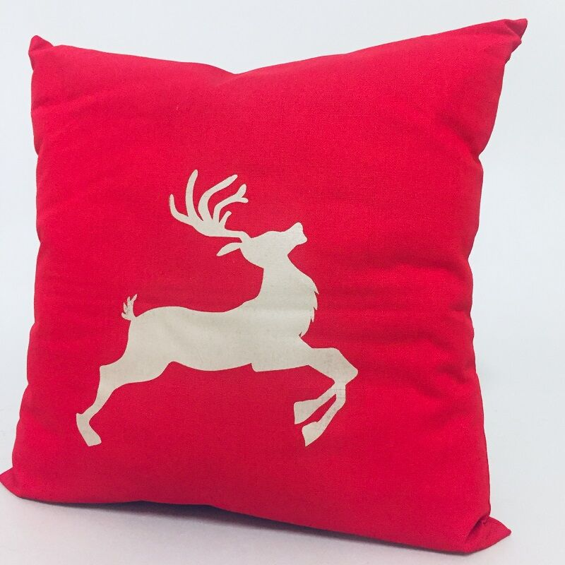 Piros Rénszarvas karácsonyi díszpárna