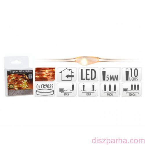 10 LEDes elemes extra melegfehér rosédrót fényfüzér
