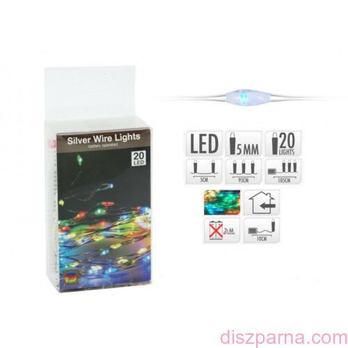 20 LEDes világító színes drót fényfüzér