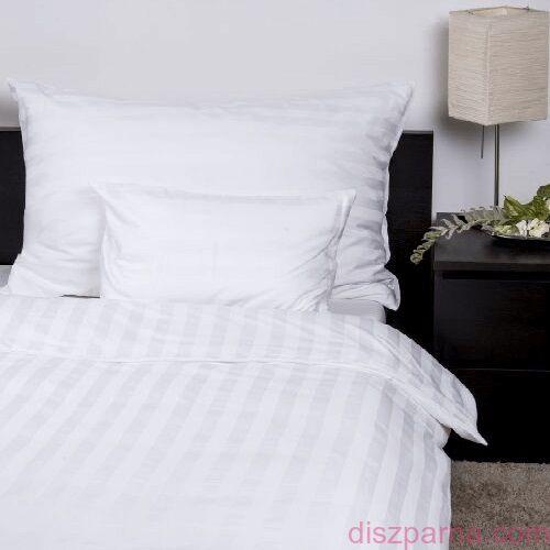 Fehér szatén csíkos ágynemű