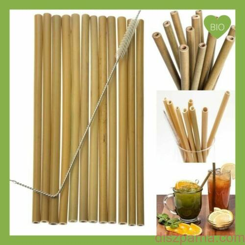 Bambusz szívószál tisztítókefével 10 db