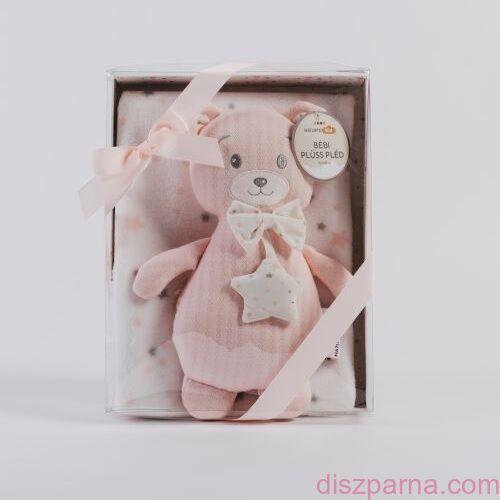 Csillagos gyermekpléd rózsaszín macival