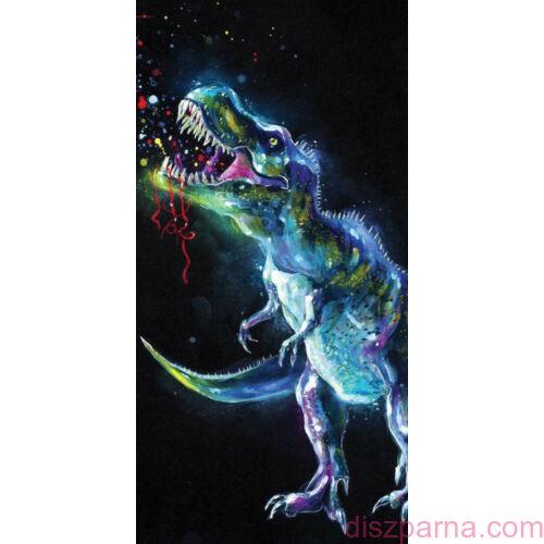 Dinoszauruszos fekete törölközőző 70x140 cm