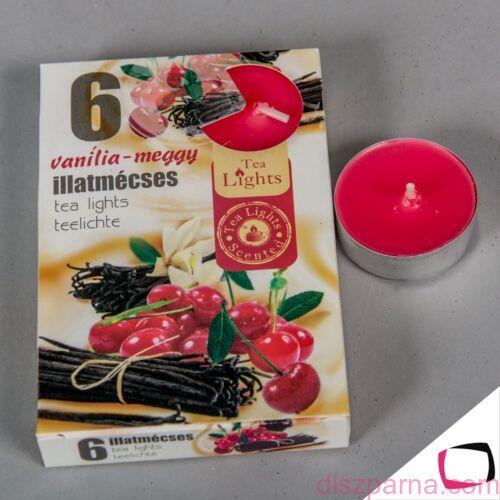 Vanília - meggy illatú teamécses 6 db-os