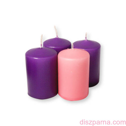 Lila és rózsaszín adventi gyertya  4 db