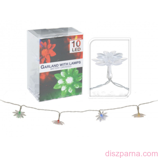 10 LEDes elemes színváltó virágos fényfüzér