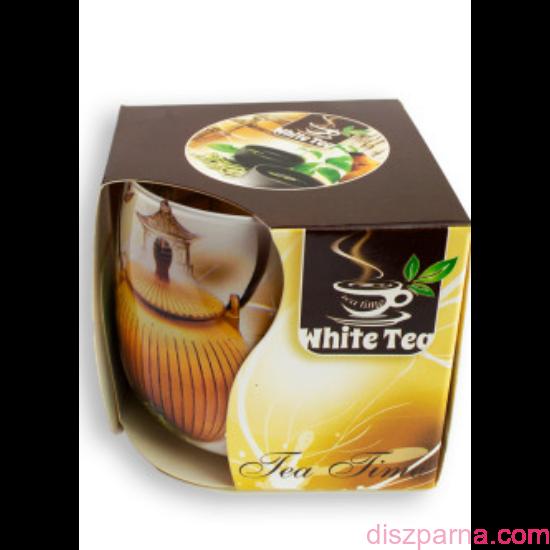 Fehér tea poharas illatmécses
