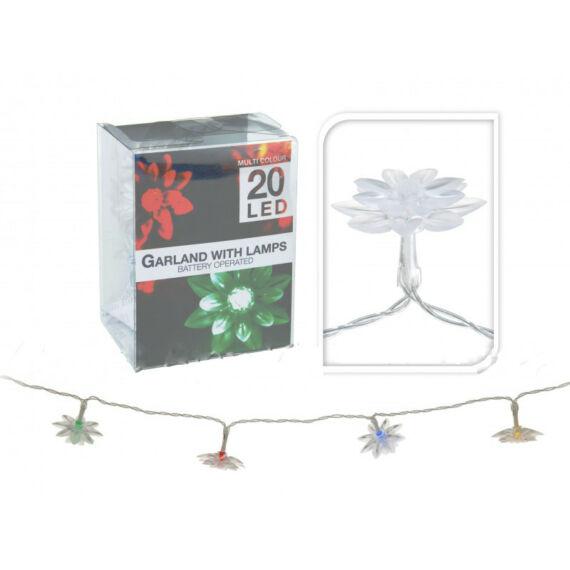 20 LEDes elemes színváltó virágos fényfüzér