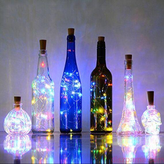 20 ledes borosüveg fényfüzér fehér színű leddel