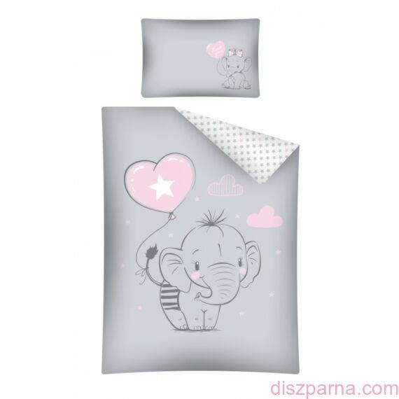 Elefántos Szürke-Rózsaszín Ovis ágynemű