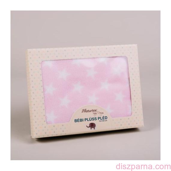 Rózsaszín csillagmintás plüss gyermekpléd