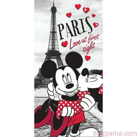 Szerelmes Minnie és Mickey egér Párizsban  törölköző