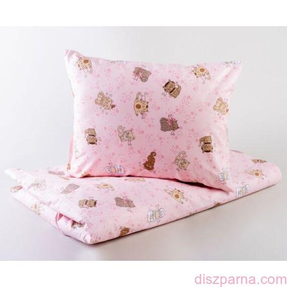 Szívecskés Cicás Rózsaszín B Ovis ágynemű