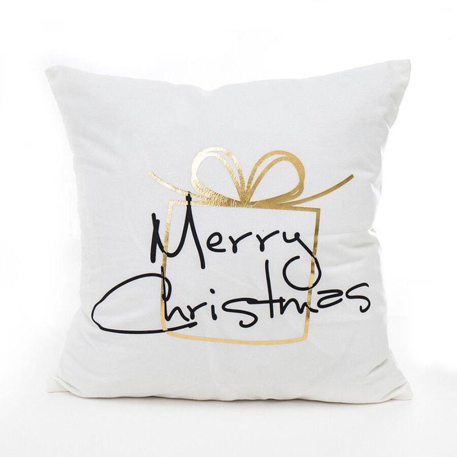 ANGEL AJÁNDÉK Fehér-Arany karácsonyi díszpárna 45x45 cm